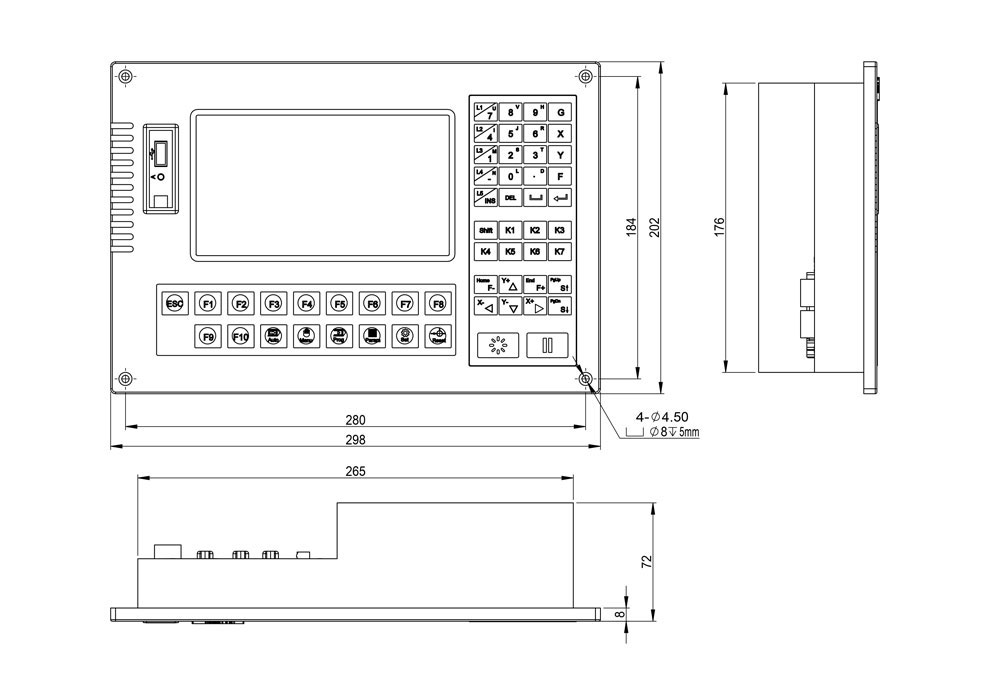 CC-S4C/D/E Cutting Numerical Controller assembly dimension diagram
